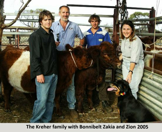 The Kreher family with Bonnibelt Zakia and Zion